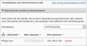 IP Adresse Hue Bridge am Telekom Speedport Smart 2